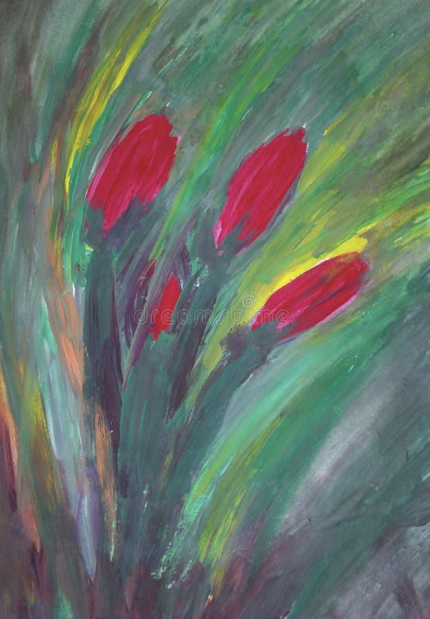 Pintura de flores rojas imágenes de archivo libres de regalías