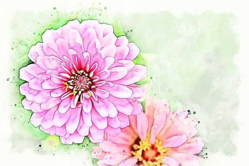 Pintura de florescência da ilustração da aquarela da flor colorida abstrata da forma do rosa ilustração stock