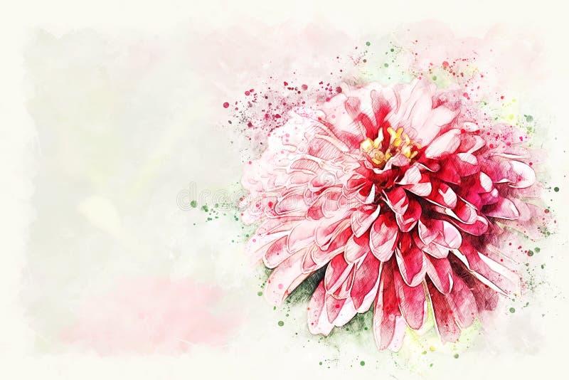Pintura de florescência da ilustração da aquarela da flor colorida vermelha abstrata da forma ilustração royalty free