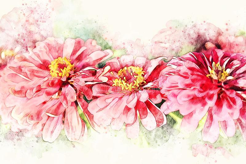 Pintura de florescência da ilustração da aquarela da flor colorida vermelha abstrata da forma ilustração stock