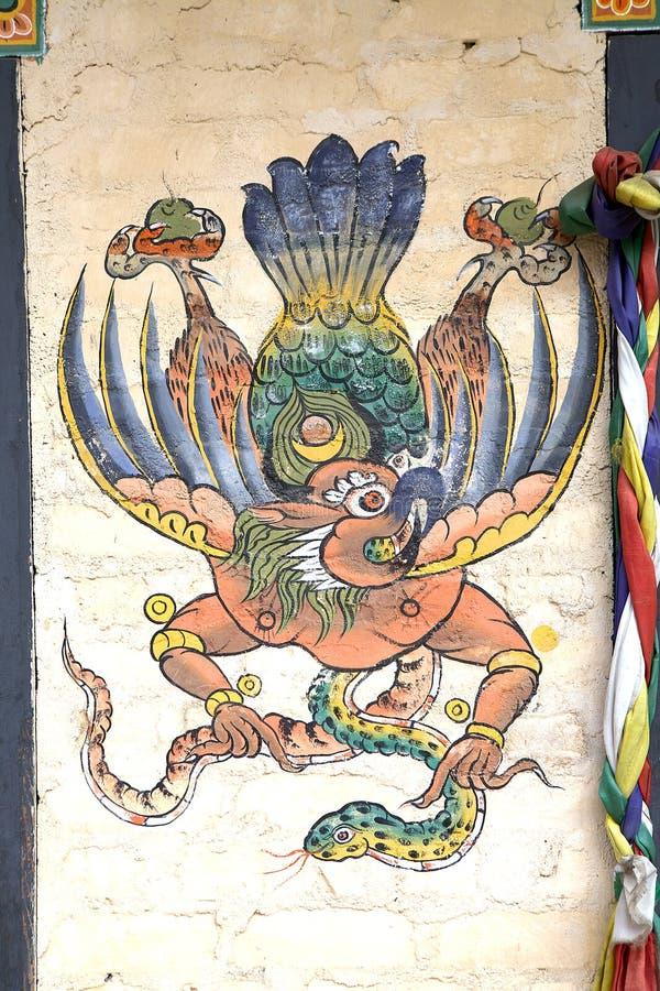 Pintura de Garuda, Bhután fotografía de archivo