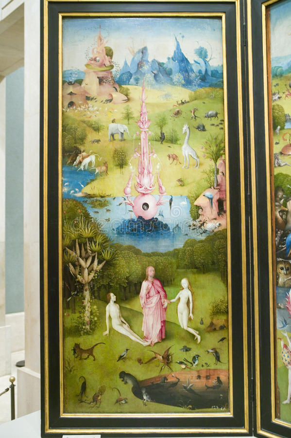 Pintura de Hieronymus Bosch, el jardín de placeres terrestres, en el museo de Prado, museo de Prado, Madrid, España foto de archivo