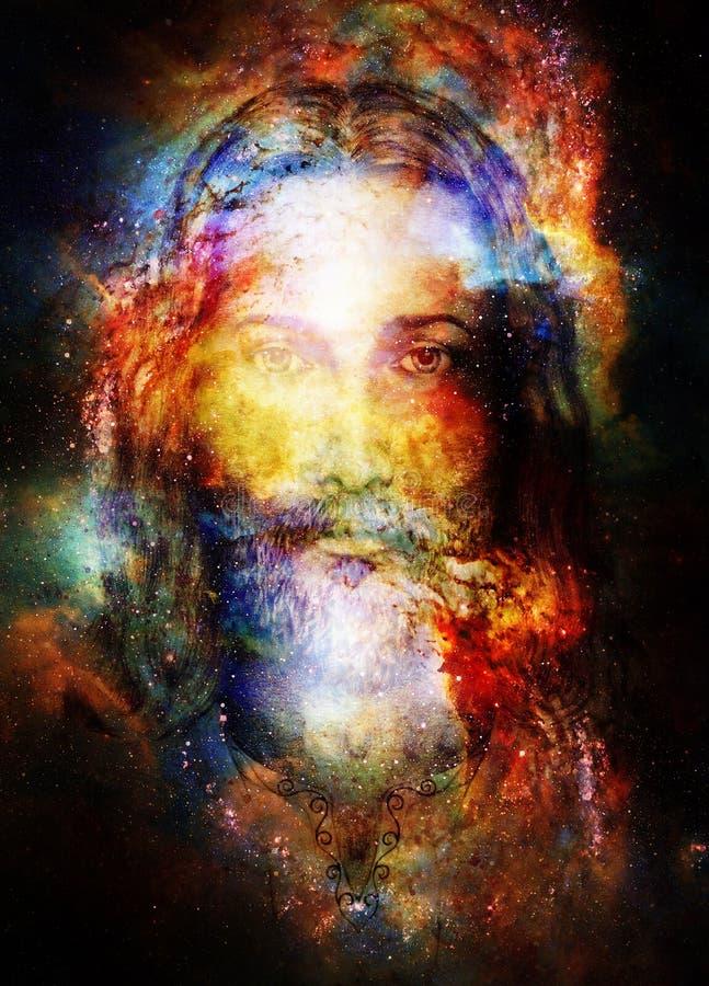 Pintura de Jesus Christ com energia colorida brilhante da luz em c ilustração do vetor