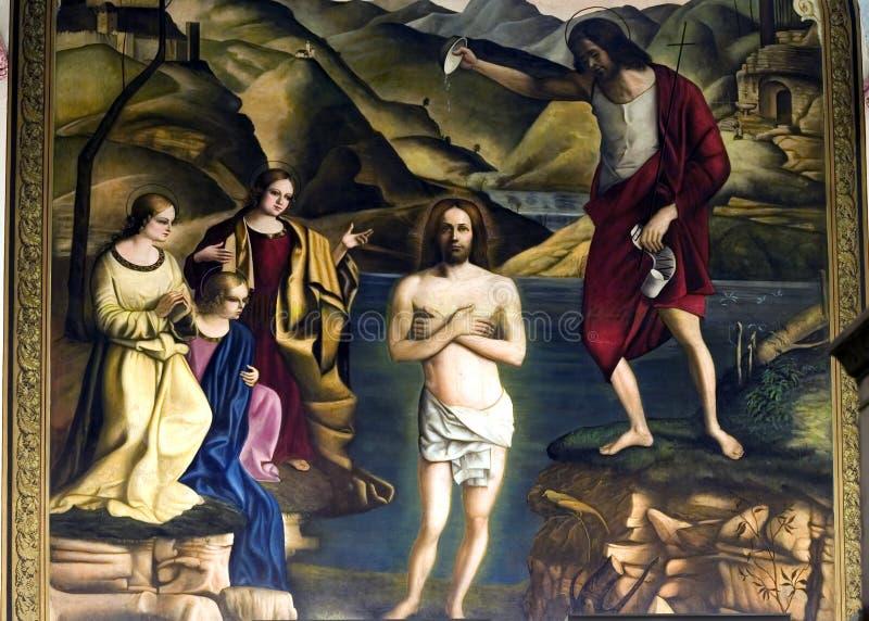 Pintura de Jesus que está sendo batizada imagens de stock royalty free