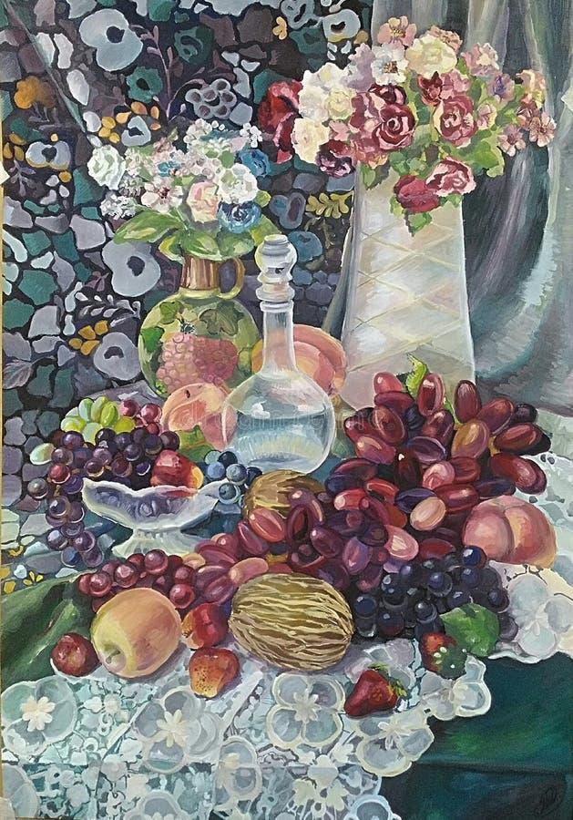 pintura de la Aún-vida con el ramo y las frutas jugosas ilustración del vector