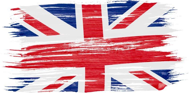 Pintura de la acuarela de la bandera BRITÁNICA stock de ilustración