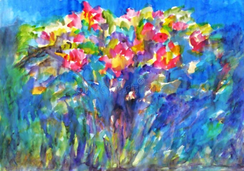 Pintura de la acuarela Bush color de rosa floreciente stock de ilustración