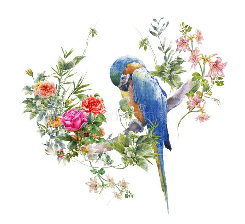 Pintura de la acuarela con el pájaro y las flores, en el fondo blanco ilustración del vector