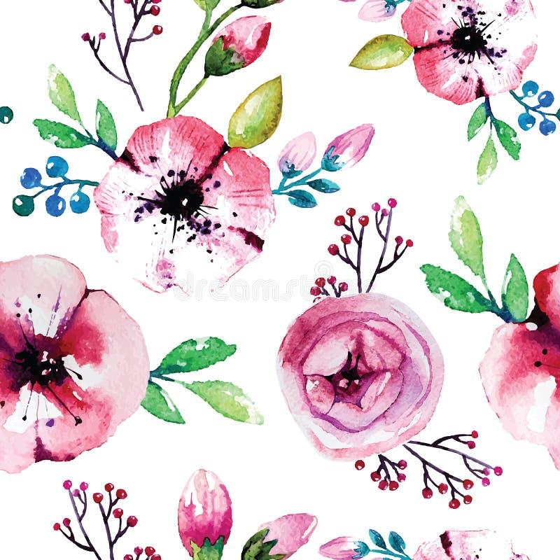 Pintura de la acuarela con las flores de Rose inconsútil libre illustration