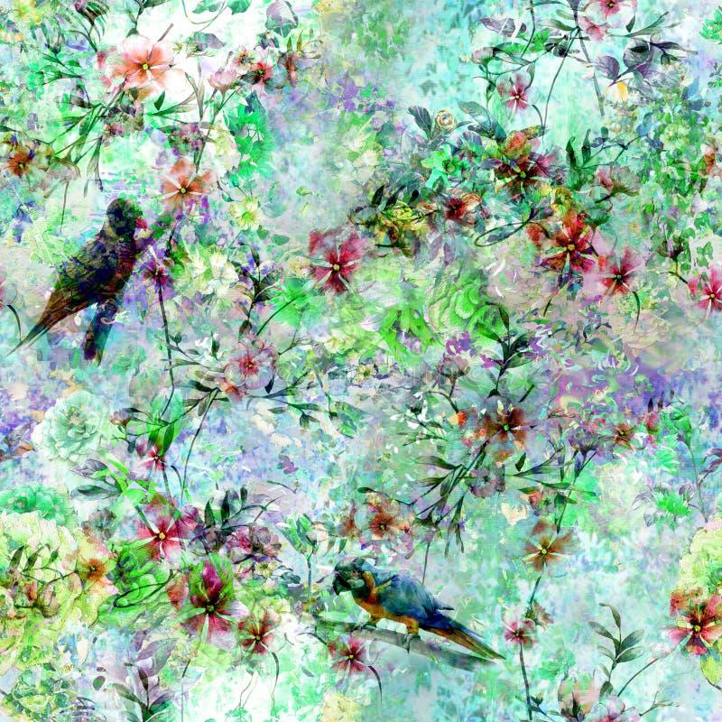 Pintura de la acuarela con los pájaros y las flores, inconsútiles libre illustration