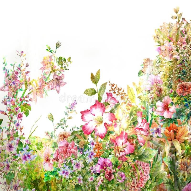 Pintura de la acuarela de hojas y de la flor ilustración del vector