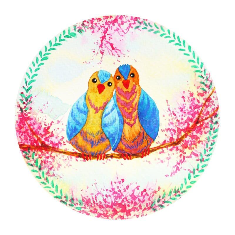 Pintura de la acuarela de la celebración de la guirnalda de la flor de los pájaros de los pares stock de ilustración