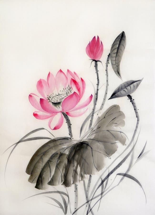 Pintura de la acuarela de la flor de loto stock de ilustración
