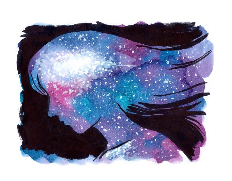Pintura de la acuarela de la galaxia del universo dentro de la cabeza y del alma de la mujer ilustración del vector