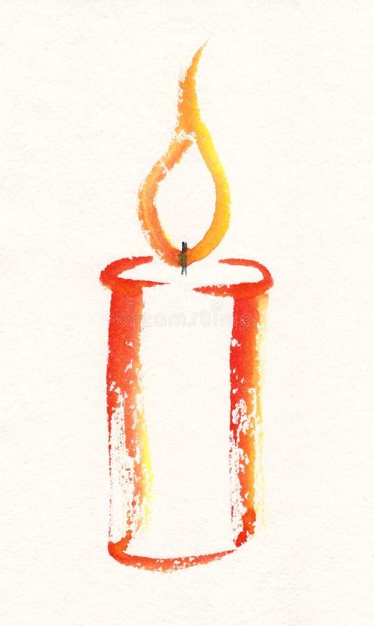 Pintura de la acuarela de la vela stock de ilustración