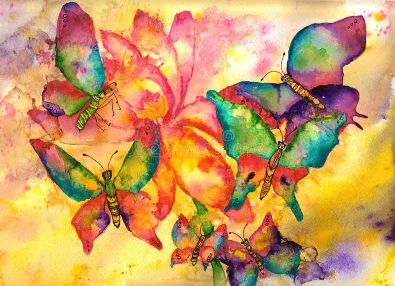 Pintura de la acuarela de las mariposas stock de ilustración
