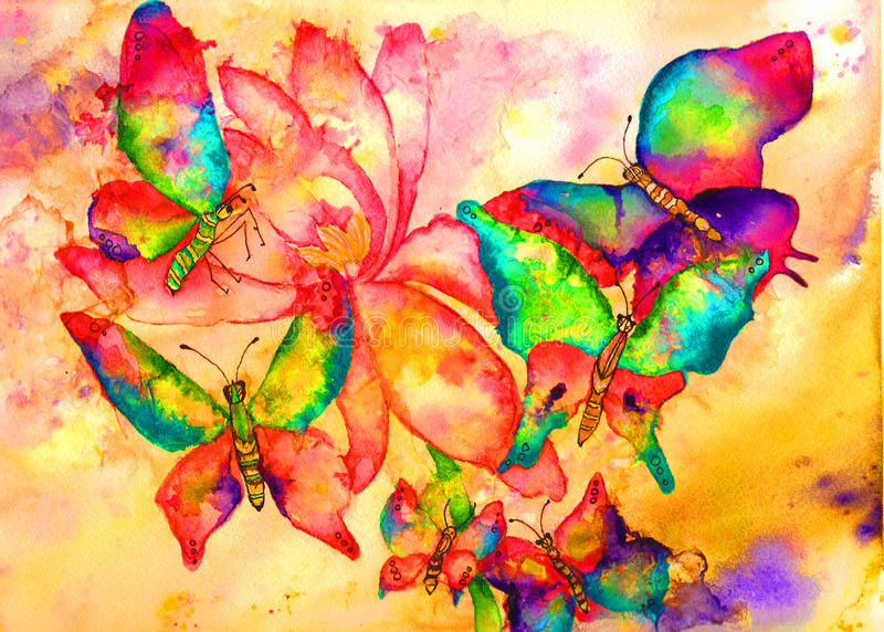 Pintura de la acuarela de las mariposas