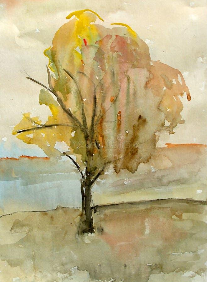 Pintura de la acuarela de un árbol ilustración del vector