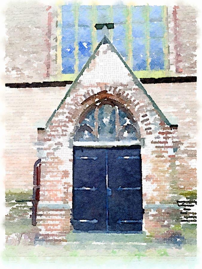 Pintura de la acuarela de una puerta de la iglesia en los Países Bajos fotos de archivo