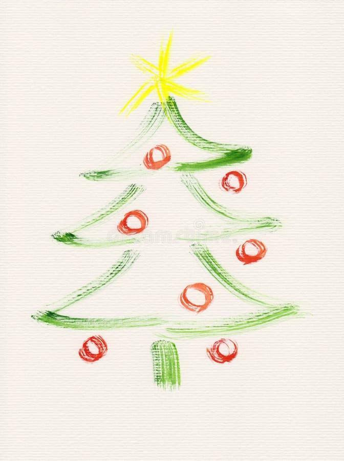 Pintura De La Acuarela Del árbol De Navidad Stock de ilustración ...