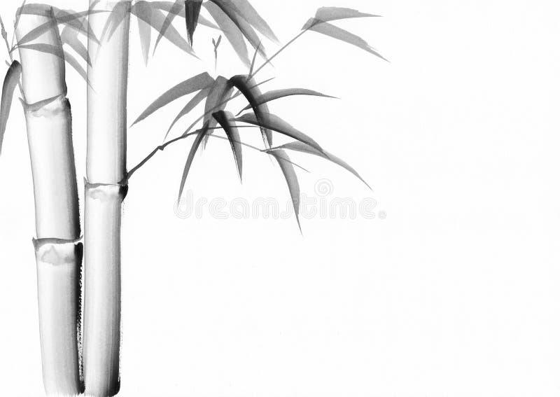 Pintura de la acuarela del bambú stock de ilustración