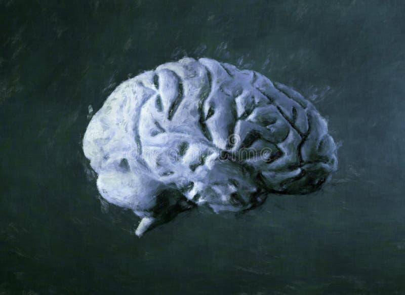 Pintura de la acuarela del cerebro fotografía de archivo