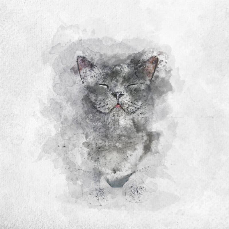 Pintura de la acuarela del gato británico feliz de Shorthair ilustración del vector