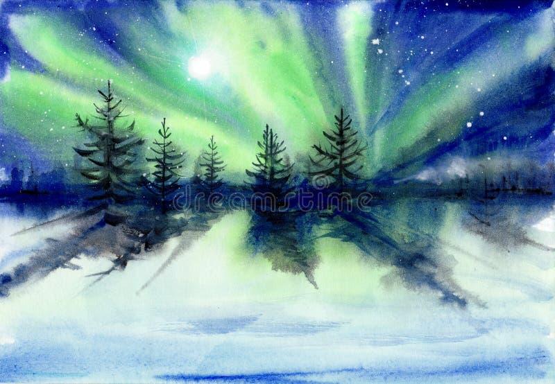 Pintura de la acuarela del paisaje de la aurora stock de ilustración