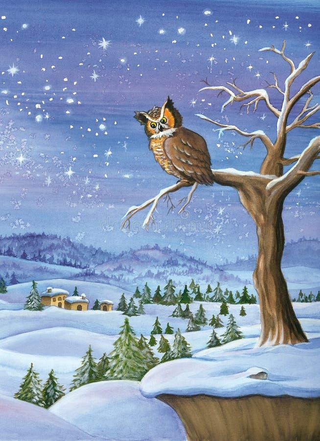 Pintura de la acuarela del paisaje del invierno stock de ilustración