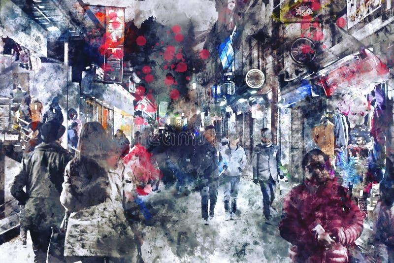 Pintura de la acuarela de Digitaces de la calle en ciudad con la gente que camina en tono oscuro fotos de archivo libres de regalías