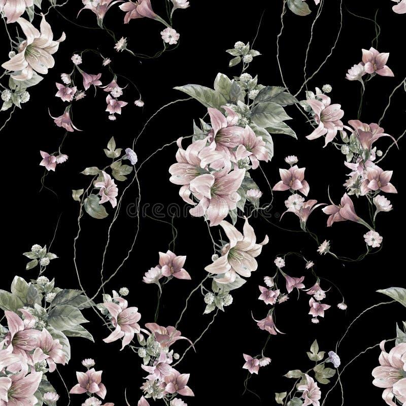 Pintura de la acuarela de la hoja y de flores, inconsútil ilustración del vector