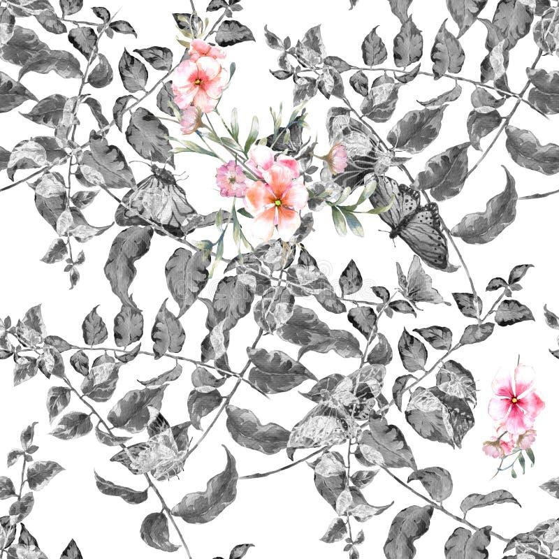 Pintura de la acuarela de la hoja y de las flores, modelo inconsútil stock de ilustración