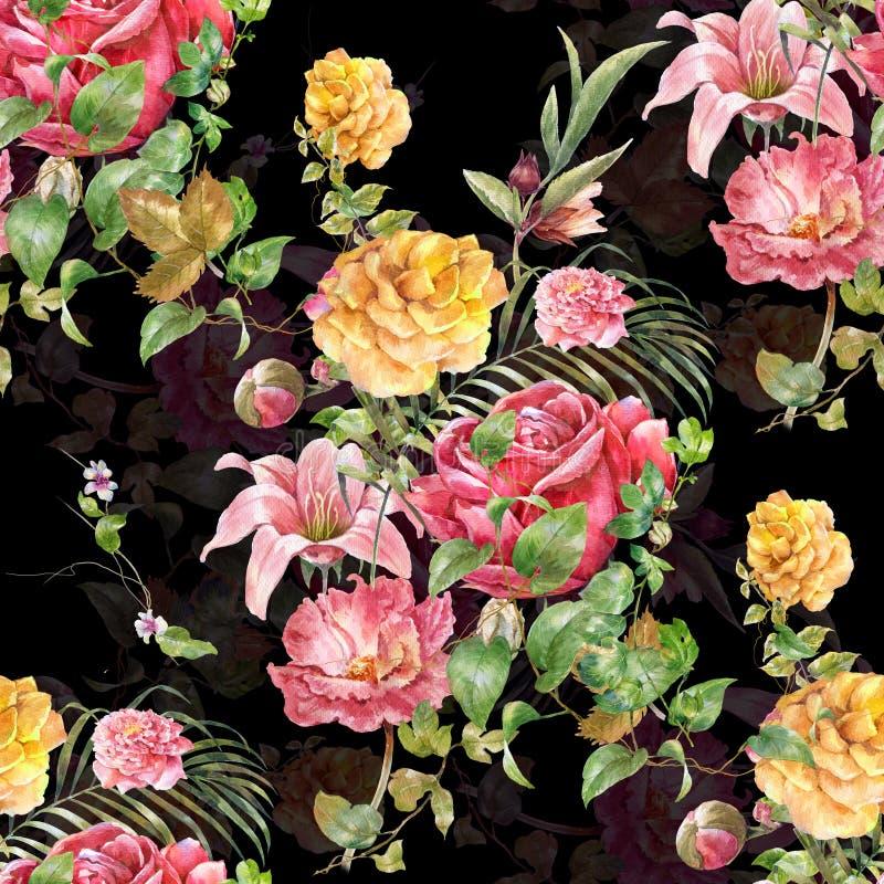 Pintura de la acuarela de la hoja y de las flores, modelo inconsútil en oscuridad ilustración del vector