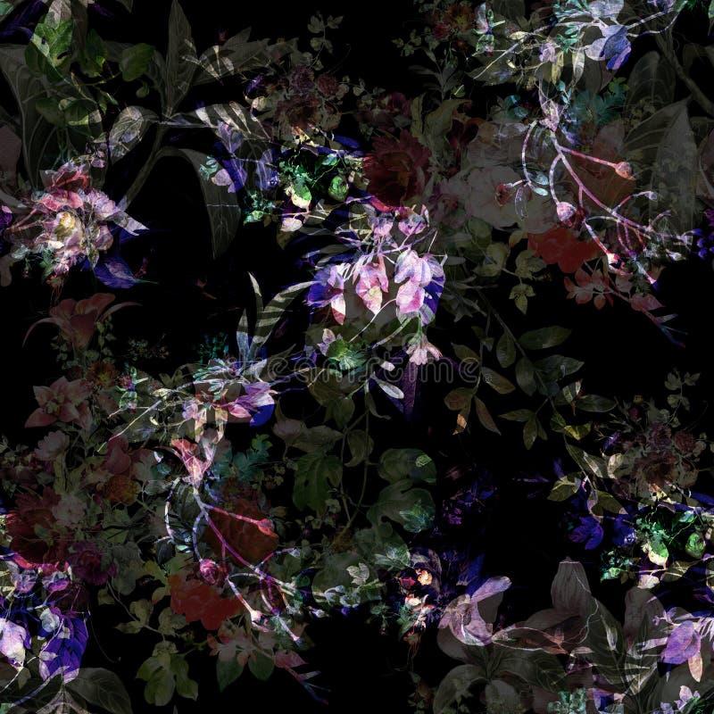 Pintura de la acuarela de la hoja y de las flores, modelo inconsútil en oscuridad libre illustration