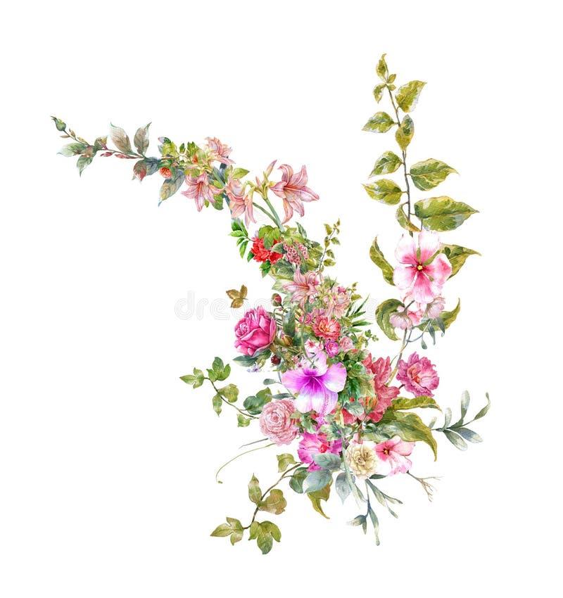 Pintura de la acuarela de hojas y de la flor, en blanco stock de ilustración