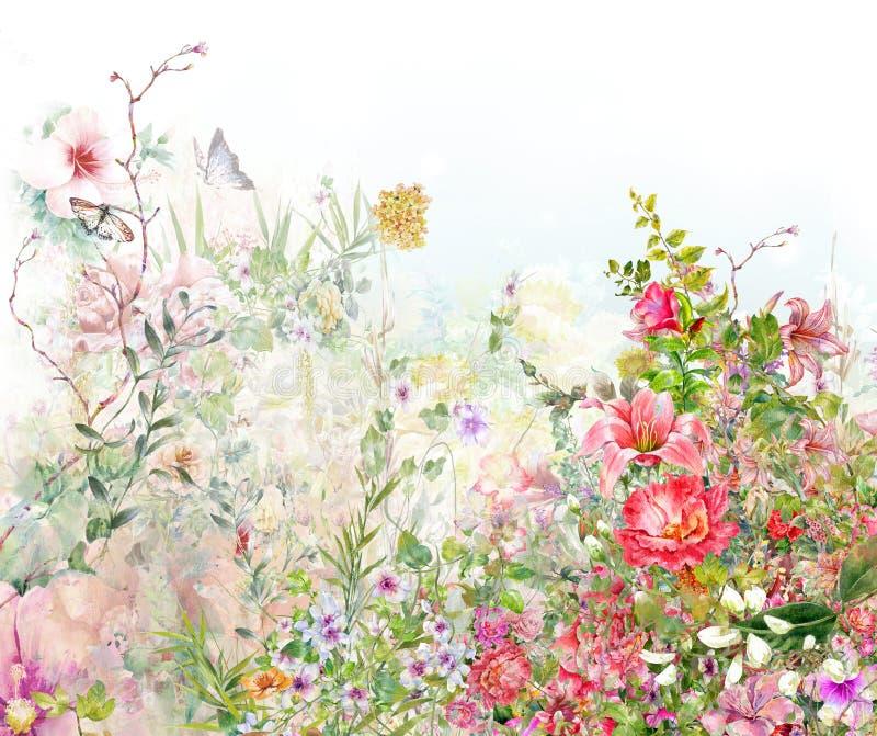 Pintura de la acuarela de hojas y de la flor, en blanco ilustración del vector