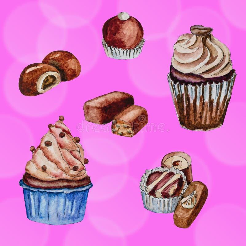 Pintura de la acuarela de los dulces del chocolate fotografía de archivo
