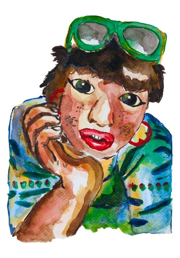Pintura de la acuarela de la mujer bronceada de la piel que se sienta, sonriendo y mirando fijamente a la cámara, muchacha encant fotos de archivo