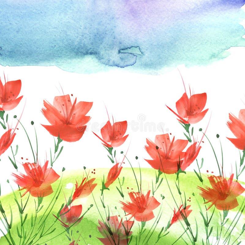 Pintura de la acuarela Un ramo de flores de amapolas rojas stock de ilustración