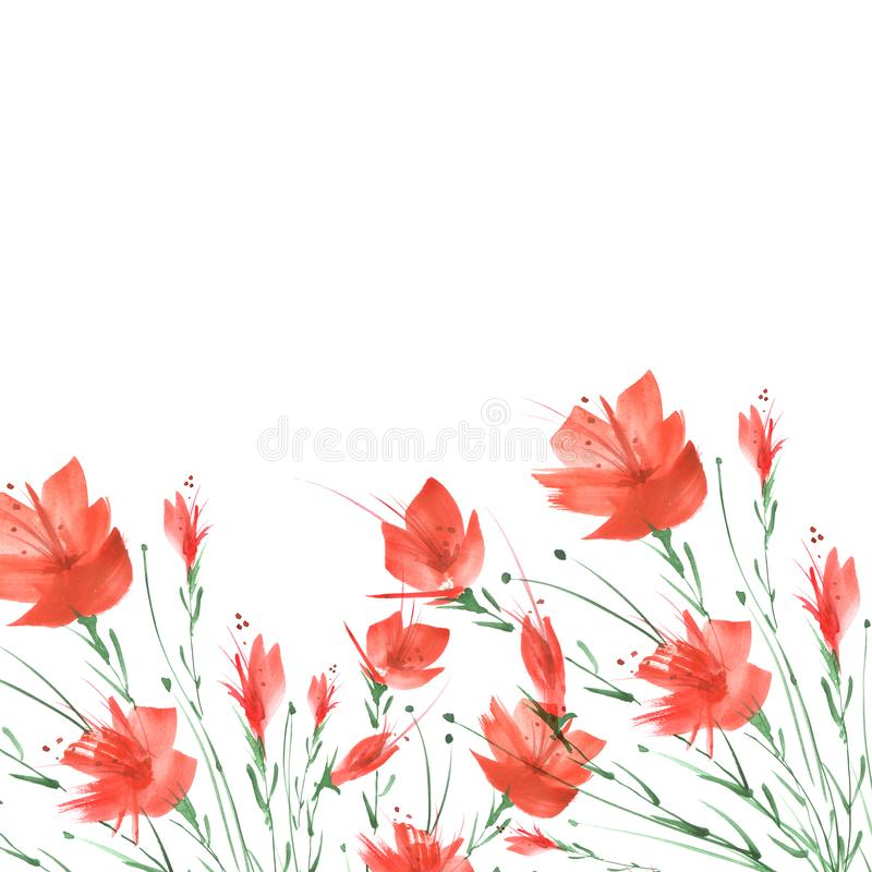 Pintura de la acuarela Un ramo de flores de amapolas rojas libre illustration