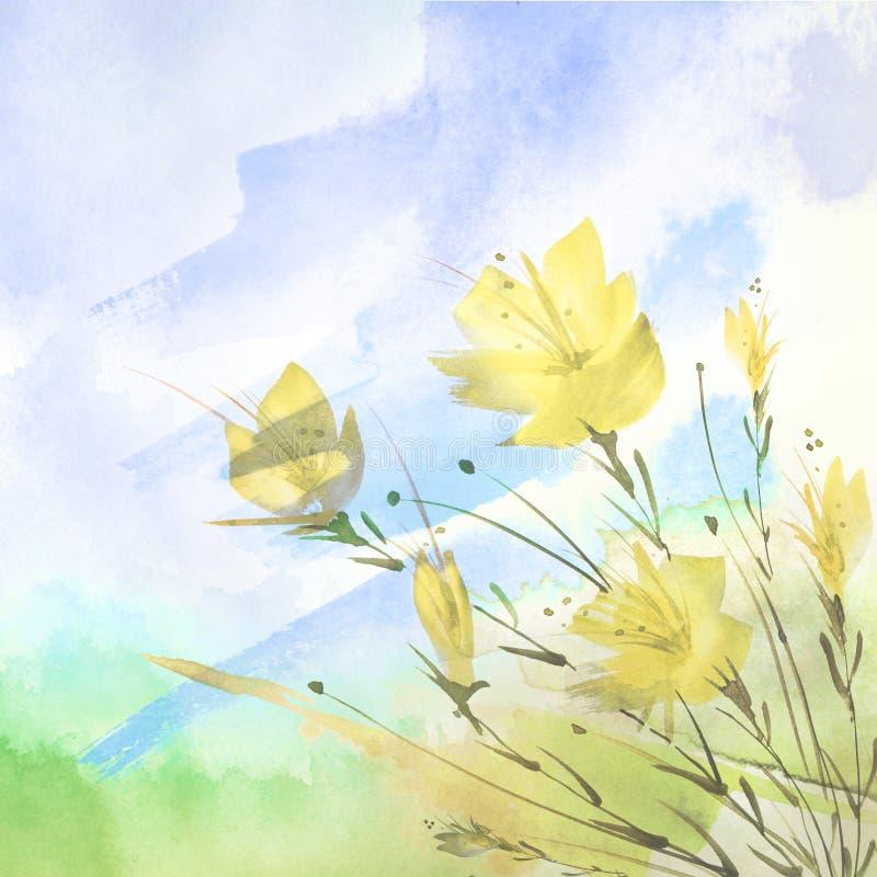 Pintura de la acuarela Un ramo de flores de las amapolas amarillas, wildflowers en un fondo aislado blanco stock de ilustración