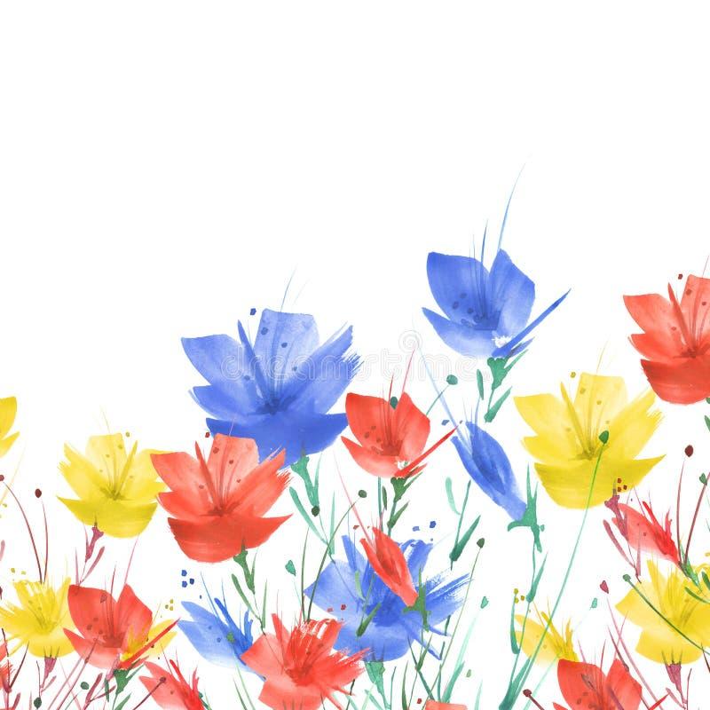Pintura de la acuarela Un ramo de flores de las amapolas azules, rojas, wildflowers en un fondo aislado blanco Acuarela floral ilustración del vector