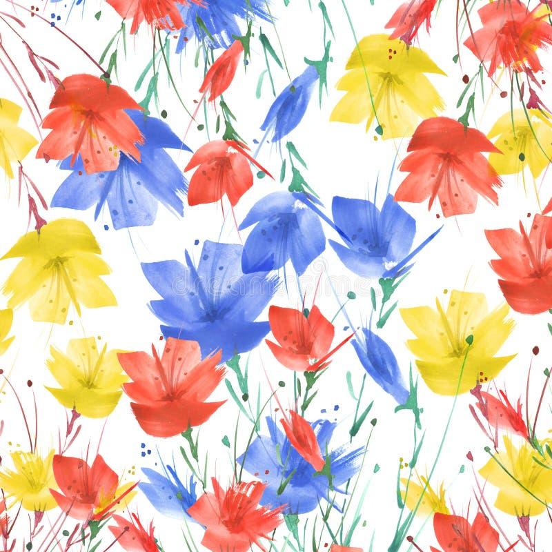 Pintura de la acuarela Un ramo de flores de las amapolas azules, rojas, wildflowers en un fondo aislado blanco Acuarela floral stock de ilustración
