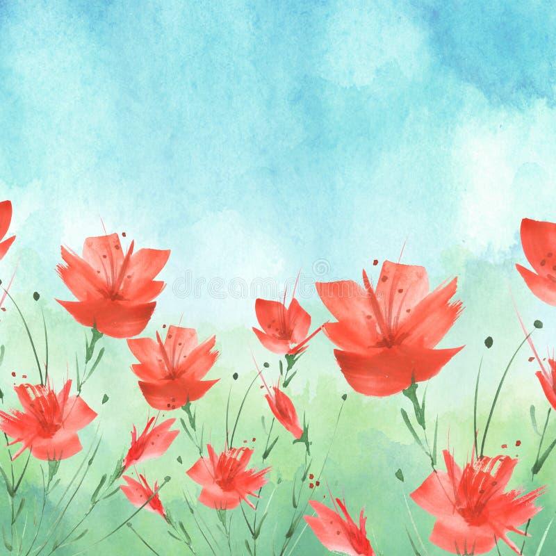 Pintura de la acuarela Un ramo de flores de las amapolas azules, rojas, wildflowers en un fondo aislado blanco Acuarela floral libre illustration