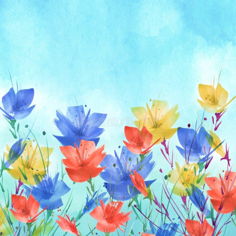 Pintura de la acuarela Un ramo de flores de las amapolas rojas, wildflowers Ejemplo floral de la acuarela exhausta de la mano, lo libre illustration