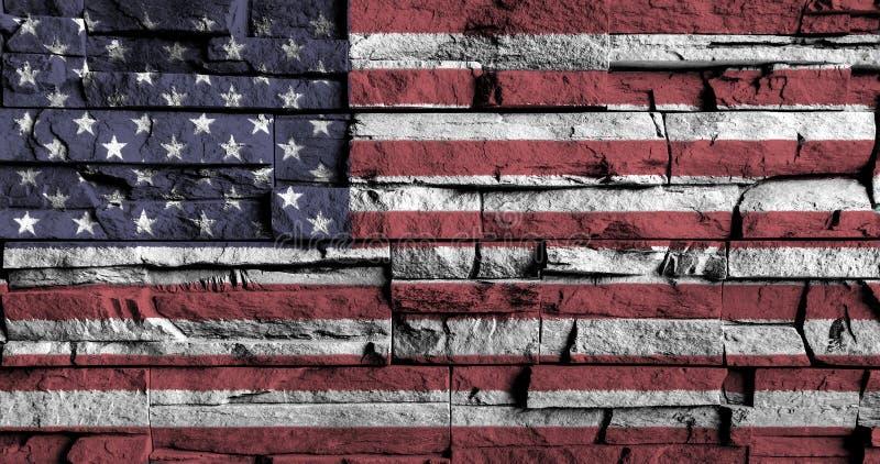 Pintura de la bandera americana sobre el alto detalle de la pared de ladrillo vieja libre illustration