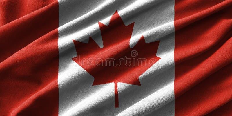 Pintura de la bandera de Canadá sobre el alto detalle de las telas de algodón de la onda libre illustration