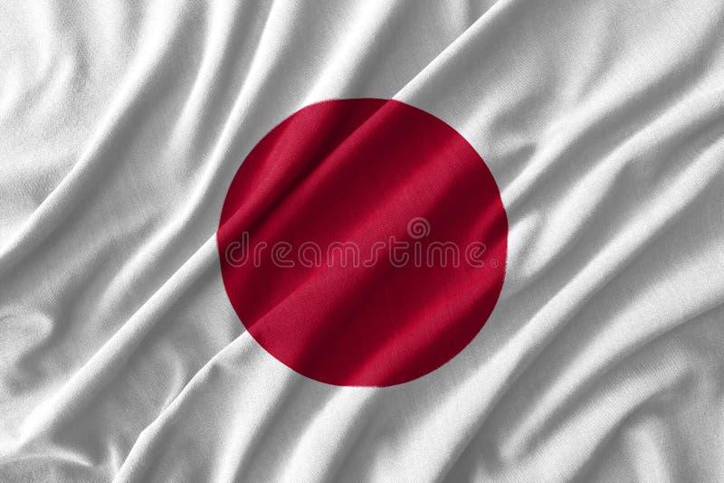 Pintura de la bandera de Japón sobre el alto detalle de las telas de algodón de la onda ilustración del vector