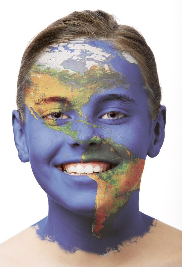 Pintura de la cara - América foto de archivo