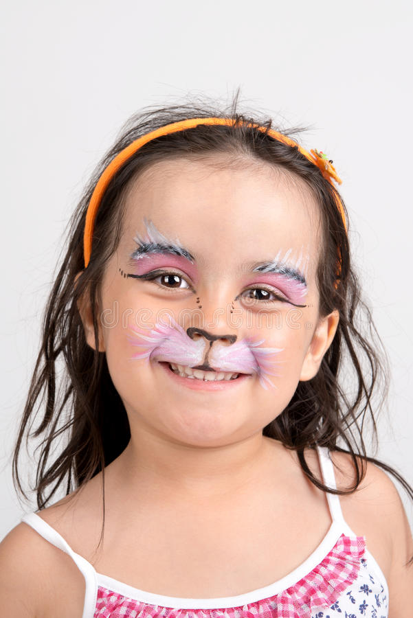 Pintura de la cara, gatito fotografía de archivo libre de regalías